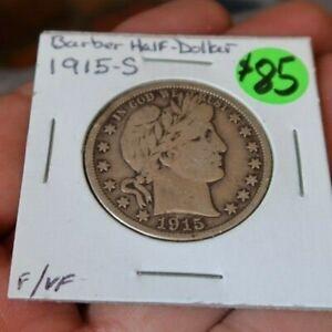 RARE Vintage Antique 1915-S Barber Silver Half Dollar 50 Cents Coin Money VF - F