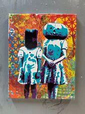 "Halloween Kids 8""x10""x1"" Painting on Canvas - Vintage Costume Pumpkin Head Art"