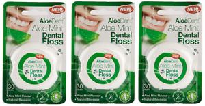 3x AloeDent Aloe Mint Flavoured Dental Floss ( 30 Metre )