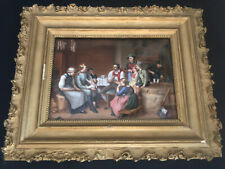 Antique 19th Century Hand Painted Porcelain Plaque In A Frame