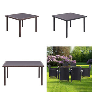 Outdoor Garden Rectangle Rattan Glass Table Patio Dining Tables  UK