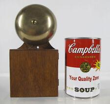 Antique 1886 Doorbell Mechanical Pull Chain Works Oak Case Single Bell Loud yqz