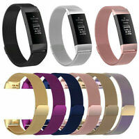 Edelstahl Milanese Magnet Armband Strap Für Fitbit Charge 3 4 Fitness Tracker