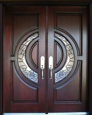 """Mahogany Double Exterior Front Entry Wood Door 30""""X96""""X2 Right Hand Swing In"""