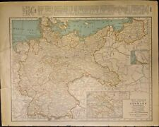 EXTREMELY RARE 2 SIDED MAP OF GERMANY AND FRANCE IN 1934 FRAMEABLE GENUINE