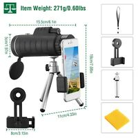 40X60 Zoom Optical HD Monocular Telescope W/Tripod for Outdoor Travel Hunting US