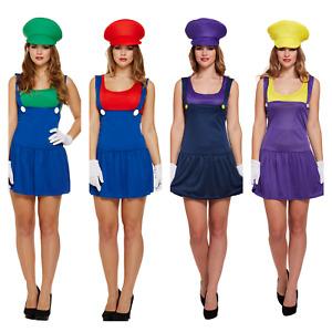 WOMENS SUPER MARIO BROS LUIGI WARIO WALUIGI FANCY DRESS COSTUME WORKMAN PLUMBER