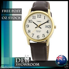 Timex Men's Easy Reader, Brown Leather Watch, Indiglo T2N369 Free Shipping in AU