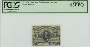 5 Cent Third Issue Fractional Currency PCGS Choice New 63 PPQ Fr #1238
