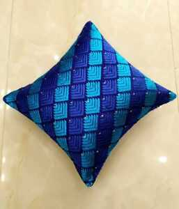 """Set of 2 Blue Cushion Covers Stitched Phulkari Embroidered 16"""" by 16"""""""