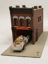 N scale fire station with custom painted truck and building detail