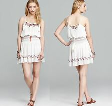 NWT FREE PEOPLE Peasant Boho Spaghetti Strap White Dress Red Embroidery Beads M