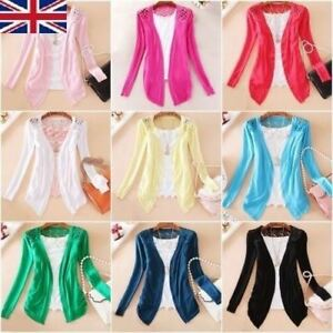 Girls Womens Ladies Back Lace Crochet Knit Cardigan Coat Top Size 4 6 8 10