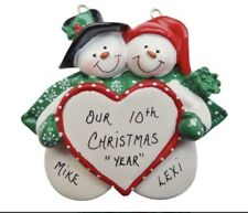 Personalized Snowmen Couple With Heart Christmas Ornament