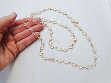 """Vintage Swarovski Clear Faceted Gold Tone Bezel Set Crystal Necklace 31"""""""