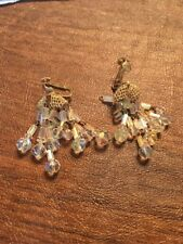 Vintage Vendome Signed Clip  Borealis Swarovski Crystal Chandelier Earrings