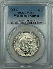 1954-D Washington-Carver Commem. Silver Half Dollar Coin Pcgs Ms-64 *Scarce* Dgh