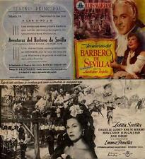 Año 1954. Programa de CINE. Título película: Aventuras del barbero de Sevilla.