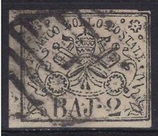 1852 STATO PONTIFICIO - Baj 2 bianco n° 3A USATO CON 4 MARGINI PERFETTO € 100,00