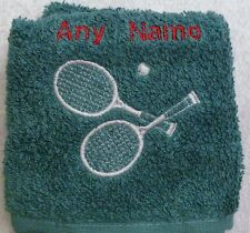 Personalised Tennis Racket & Ball Face Cloth Flannel Any Name Birthday Christmas