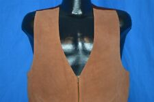 vintage 80s Aj Leather Suede Zip Up Brown Suit Vest Metal Zipper Men'S Size 38