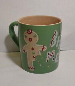 Hatley Gingerbread Man Bite Me Coffee Mug Green 14 ozs