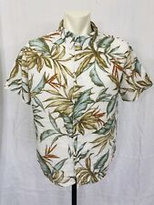 Margaritaville Hawaiian Shirt Mens Large White Floral Short Sleeved