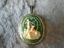 GODDESS DIANA - HUNTRESS - CAMEO LOCKET (ON GREEN) -ANTIQUE BRONZE, VINTAGE LOOK