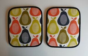 Pair of Rayburn Hob Covers. Chef Pads. Orla Kiely pears.(PROVIDE MEASUREMENTS)