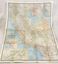 1954 Large Vintage Map of California The United States San Francisco Los Angeles