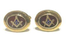 Vintage Walter E Hayward 12k GF & Enamel Free Mason Masonic Cufflinks