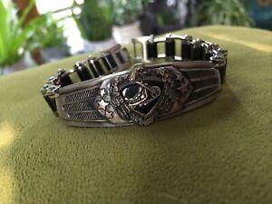 Men's Motorcycle Harley Biker~Stainless Steel Rubber Chain Link Bracelet Jewelry