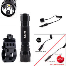Hunting Tactical Flashlight Torch+Offset Weapon Picatinny Mount+2 in 1 Switch Us