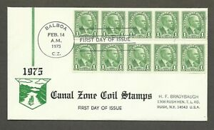 1975 Canal Zone coil stamps - 1st Day of Issue - Scott# 160 - HFB cachet stk#398