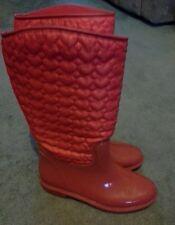 Damas Niñas Rojas Acolchado Botas de agua Botas Talla 4