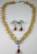 Statement Teardrop Citrine & Quartz Necklace & Earrings Set Mother of Bride