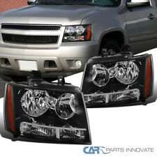 Black Headlights For 07-14 Avalanche Tahoe Suburban LS LT LTZ Lamps+Amber Signal