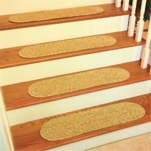 Rhody Rug SA58A008X028-13 Sandi Tweed Braided Stair Tread Oatmeal - Set Of 13