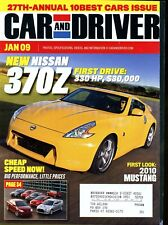 Car and Driver Magazine January 2009 Nissan 370Z, 2010 Mustang, 10 Best Cars