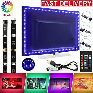 5V USB LED Strip Lights TV Back Light 5050 RGB Colour Changing with 24Key Remote