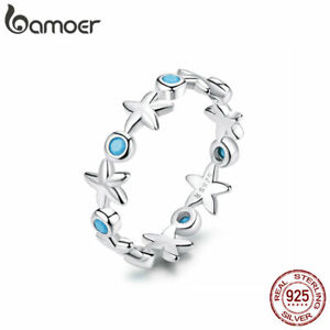 BAMOER Women Finger Blue AAA CZ Ring Solid S925 Sterling silver Starfish Jewelry