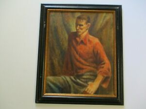 ANTIQUE WPA PAINTING PORTRAIT MODERNIST  MALE   MODEL EXPRESSIONIST ASHCAN MAN