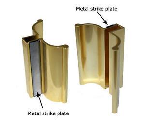 "3"" Bright Gold Frameless Shower Door Handle with Metal Strike"