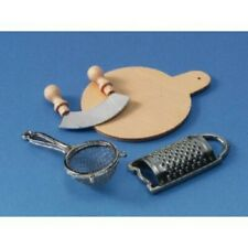 Dolls House Miniatures: Chopping Board, Sieve, Grater & 2 Handled Chopping Knife