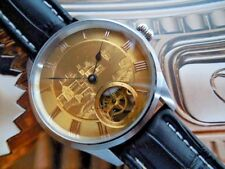 18K SOLID GOLD DIAL HAND ENGRAVED IN 1800s SWISS MADE SKELETON ETA 6498 MOVEMENT