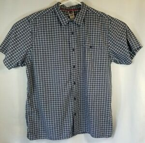 The North Face Men's Short Sleeve Button Down Shirt, Blue Plaid, XL Extra Large