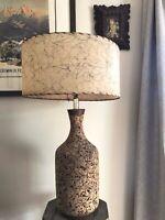 Vintage MID-CENTURY Cork TABLE LAMP 1960s Retro DANISH MODERN Light MCM Teak