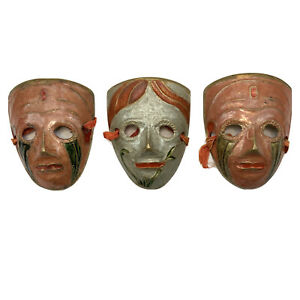 Stunning Small Brass Decorative Wall Hanging Theatrical Masquerade Masks X3
