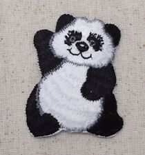 Panda Bear Waving - Black/White Animals/Zoo - Iron on Applique/Embroidered Patch