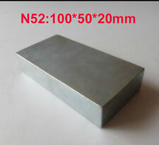 Ndfeb Magnet N52 Large Block Square Rare Earth Magnet Super Strong 100x50x20mm